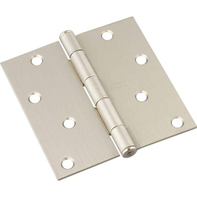 National 4 In. Square Satin Nickel Door Hinge