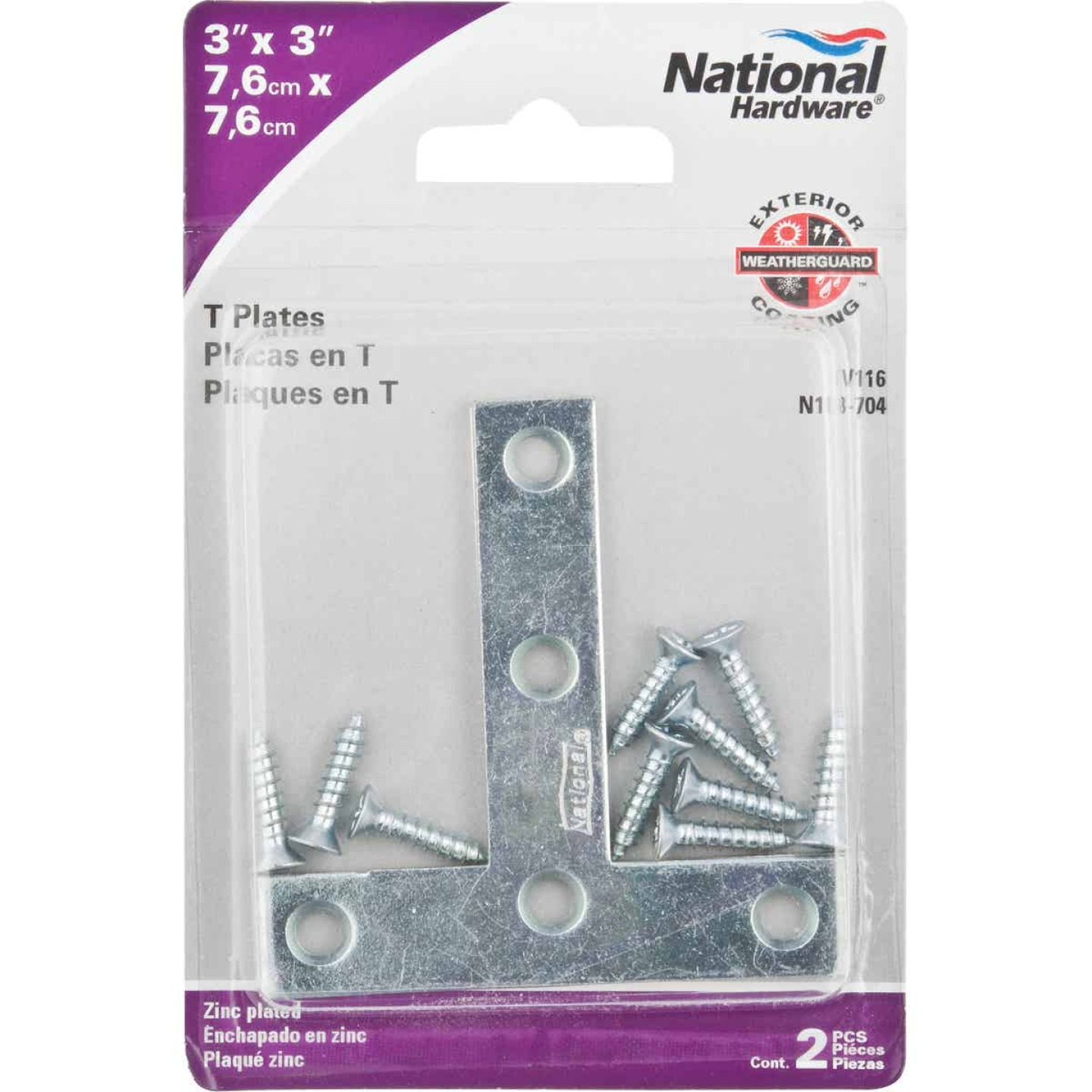 "National 3"" x 3"" Zinc T-Plate, (2-Pack) Image 2"