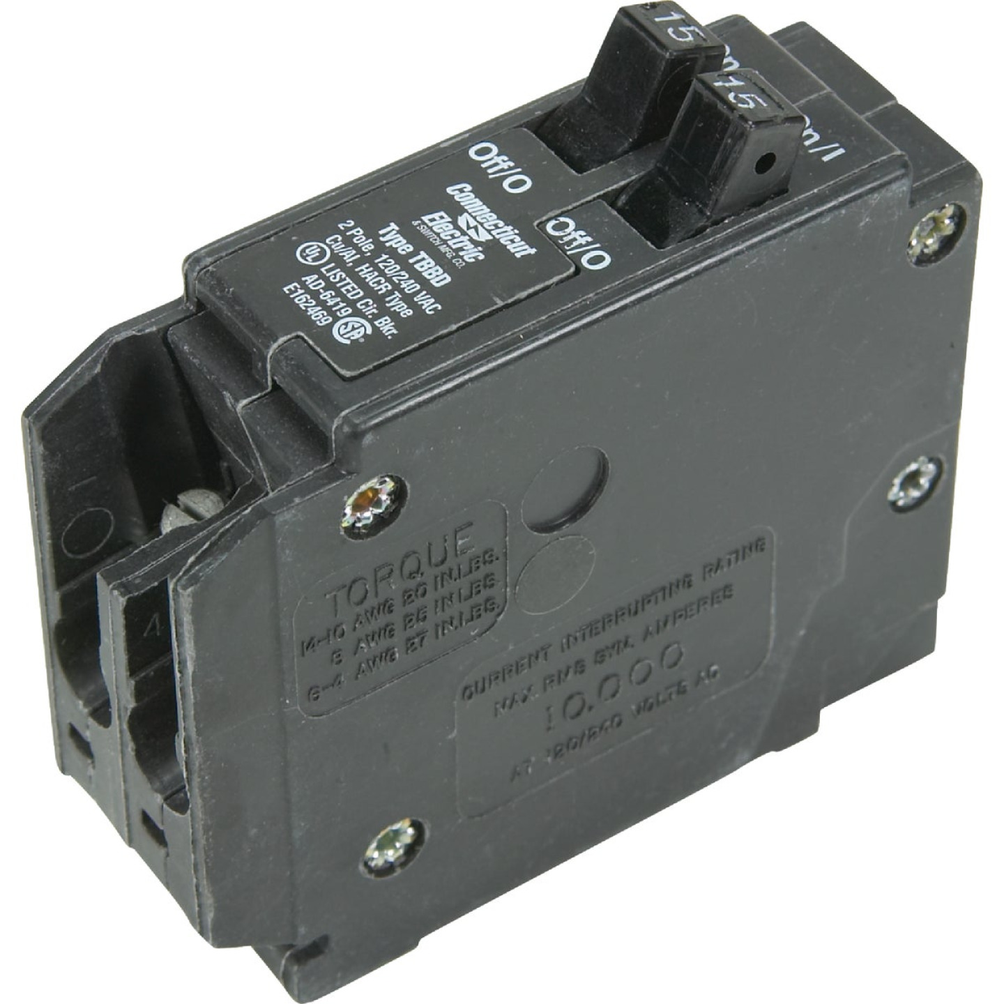 Connecticut Electric 15A/15A Twin Single-Pole Standard Trip Interchangeable Packaged Circuit Breaker Image 1