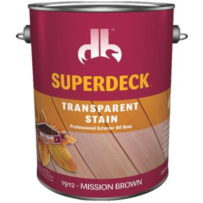 Duckback SUPERDECK VOC Transparent Exterior Stain, Mission Brown, 1 Gal.